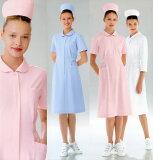 ウエストタックで着やすいシルエット/女性用、ナースワンピース白衣 半袖