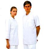 男性用、肌に触れる裏面に綿を使用敏感肌の方にもおすすめ男子ドクターケーシー型白衣半袖《ニット素材》ホワイト72-702【10P11Apr15】