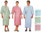 男性女性兼用患者衣(着物式)千鳥格子プリントピンク(写真中)住商モンブラン59-445