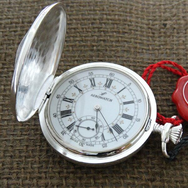 () AERO アエロ 懐中時計 55629-AG01  両蓋共に花の模様 【安心の正規品】124,200【RCP】【スーパーセール】【05P04Mar17】 シルバー色のスモールセコンド付き手巻き式懐中時計【腕時計 メンズ ブランド】