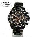 (あす楽)テクノス 腕時計 T4685BB (TECHNOS) クロノグラフウォッチ オールブラック 【RCP】【送料無料】【ホワイトデイ】02P04dec18