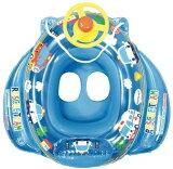 【大特価です!】ミニカーボート ブルー【ひも付きボート型浮き輪/足入れ浮き輪/ハンドル付き】