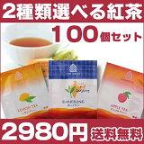 紅茶 ティーバック 【紅茶】2種類選べる100個セット/レモンティー/ダージリンティー/アップルティー 【】
