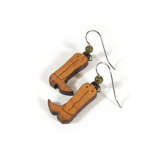#986053 自然和諧 (自然和諧) 雕刻木耳環-牛仔靴子和牛仔靴 yunakites 口氣純銀美國紮鉤耳環耳環木制雕刻木頭雕刻耳環 10P05Dec15