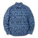 #922063オレゴニアンアウトフィッターズ(Oregonian Outfitters) 長袖シャツ オルテガ柄 ネイティブ柄 胸ポケット メンズ 紺 ネイビー M L Men's Long sleeve shirt Ortega pattern Made in Japan 【RCP】