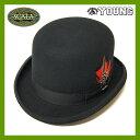 #930088スカラ(SCALA)フェザー付きボーラーハット - DERBY メンズ レディース ドーフマンパシフィック DORFMAN PACIFIC 帽子 ロゴ リボン 羽根 ウール フェルト WOOL ブラック 黒 M L XL WF506 BLK 【RCP】 10P05Nov16