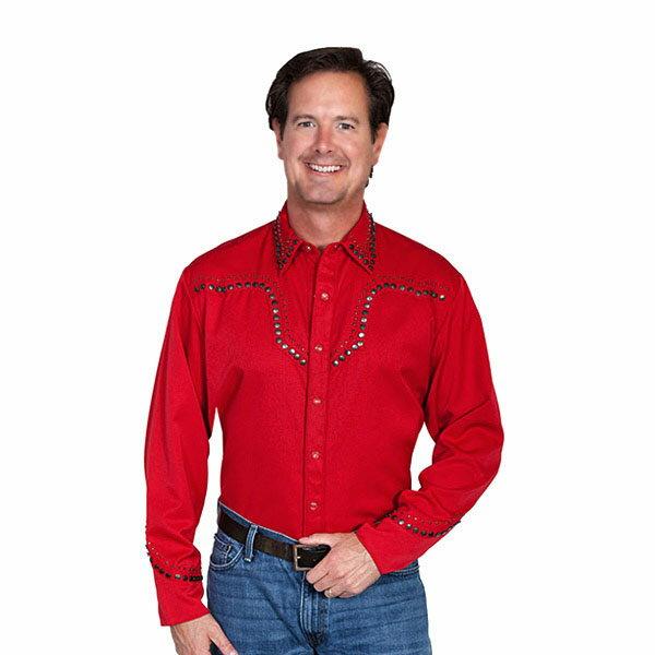 #912127スカリー(Scully)スタースタッズウエスタンシャツ - STAR STUD YORKS/CUFF EMBROIDERY SHIRT メンズ 星 ウェスタンシャツ 長袖シャツ ステージ衣装 ロカビリー カントリー 大きいサイズ 赤 レッド S M L XL P 748 RED 【RCP】 10P05Nov16