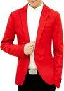 メンズ カジュアル テーラード ジャケット スリム ビジネス 無地 長袖 ひとつ ボタン(レッド, M)