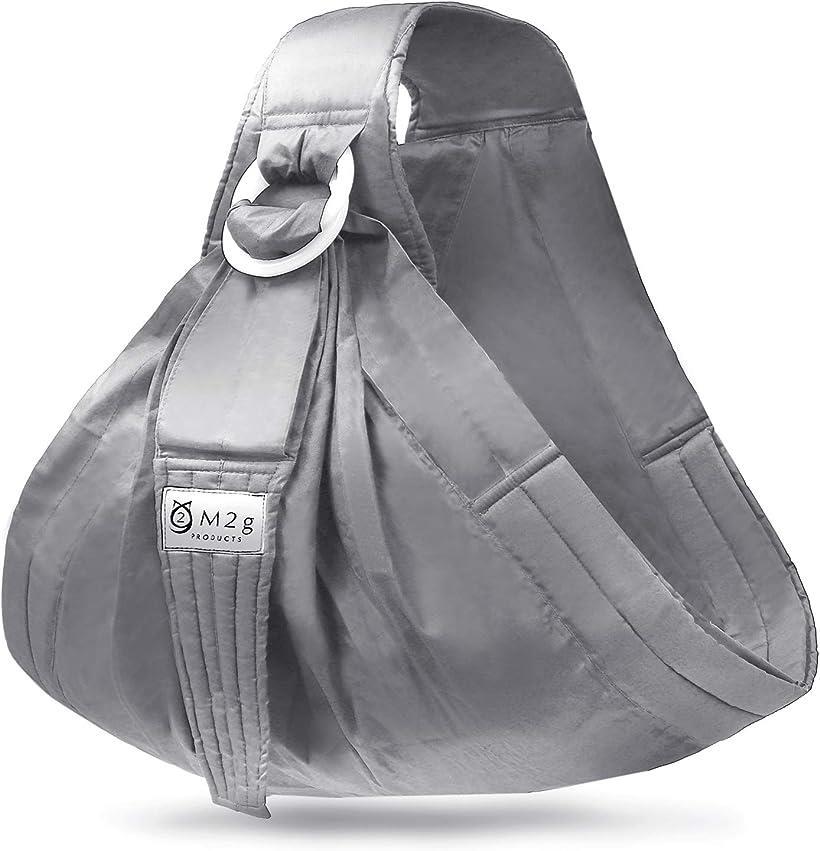 ベビースリング新生児抱っこ紐横抱き調整可能軽量リングタイプ安全基準検証済M2gMDM(グレー)