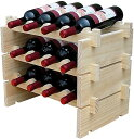 Anberotta 木製 ワインラック 積み重ね式 ホルダー シャンパン ボトル ウッド 収納 ケース スタンド インテリア ディスプレイ 1 2 3 4段から選べる W1(12本用収納・3段)