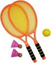 ラケットセット テニスセット バトミントン ボール 子供 羽2個 ボール1個 親子 屋外 室内(オレンジ)