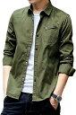 ショッピング秋 メリュエル ベーシック カラー シャツジャケット カジュアル コットン 春 秋 冬 大人 メンズ(カーキ, XL)