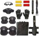 サバゲー 装備 セット サバイバルゲーム 10点セット マスク ゴーグル グローブ ベルト スリング マーカー ニーパッド エルボーパッド ダンプポーチ ホルスター 黒, MDM(ブラック, グローブXL)