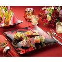【食卓を艶やかに】 Viva Rosa ローズプレート 26.5cm ブラック 【新年/正月/盛り皿/和食器/食器/料理/和食/洋食/食卓/パーティー/スクエアプレート/角皿】(000000032631)