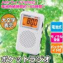 オーム電機 大文字 ポケットラジオ AM ワイドFM対応 ポータブルラジオ 携帯ラジオ 電池式 液晶...