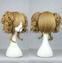 原宿ガール 可愛い ロリータ ブラウン ツインテール 巻き髪 コスプレウィッグ wig-301a