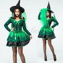 ハロウィン 魔女 デビル 小悪魔 魔法使い ウィッチ ブラック・グリーン レース ワンピース コスプレ衣装 ps3511