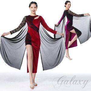 ワルツ 社交ダンス ラテンダンス 2色 レース ドレス