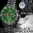 (ケース付き♪送料無料) -BLACK OCEANS- 腕時計 デザインクロノグラフ ブラック メタルバンド ウォッチ 男性用 BOB-1033