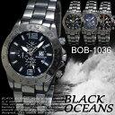 【ケース付き♪送料無料】◇-BLACK OCEANS-◇ 腕時計 デザインクロノグラフ ブラック メタルバンド ウォッチ 男性用◇BOB-1036