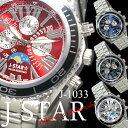ケース付 送料無料 1990円 メンズクォーツ ムーンフェイス ウォッチ Men's watch 腕時計 J-star J-1033