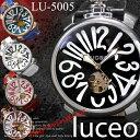 【重厚感 本革腕時計!】◇-luceo- 腕時計 自動巻 ビッグフェイス 王冠 メンズ ウォッチ 男性用◇LU-5005