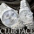 【ケース付き&送料無料♪】◇CLUB FACE 腕時計 メタルバンド 魚眼 日付 ペアウォッチ メンズ レディース◇CF-1045SVZ-N