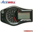 【正規品】ACEWELL完全防水マルチメーターB[12,000rpm指針モデル]XR100モタードXR250XR400モタードNSR50NSR80エイプ100モンキーゴリラCBR250RRCBR400RR等