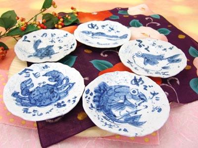 【特価】海の幸たっぷり嬉しい 取り皿五枚セット(和)取り皿にぴったり!お料理がおいしく見える単色の丸皿です