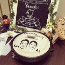 【結婚祝い プレゼント 土鍋】Coolなお二人の似顔絵&名入れ鍋8号(ガス&IH使用可能)
