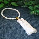 ☆【数珠・念珠/女性用】桐箱入 白珊瑚片手(黄水晶仕立) 正絹房