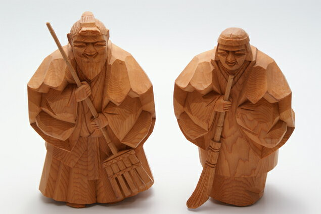 一位 一刀彫 高砂人形 克之 七寸(約21cm) 結納 賀寿 長寿祝い に 送料無料 長寿・和合の象徴である高砂人形…伝統美溢れる一刀彫高砂人形です