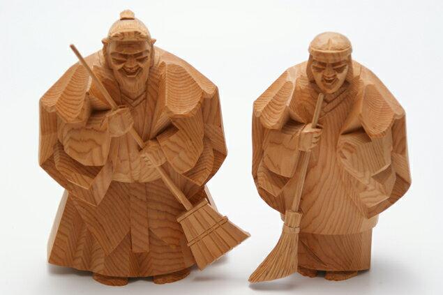 一位 一刀彫 高砂人形 和之 七寸(約21cm) 結納 賀寿 長寿祝い に 送料無料 長寿・和合の象徴である高砂人形…伝統美溢れる一刀彫高砂人形です