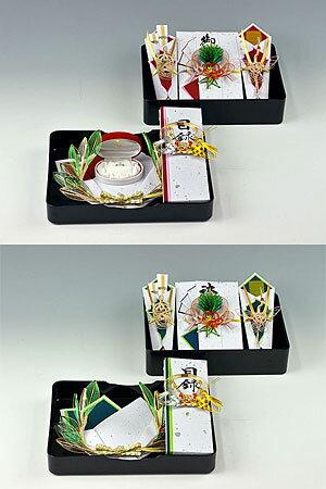 同時交換-略式結納品- 花の舞アレンジセット3【風呂敷サービス(3幅・無地) 基本セット + 記念品飾り + 目録(縦長)】