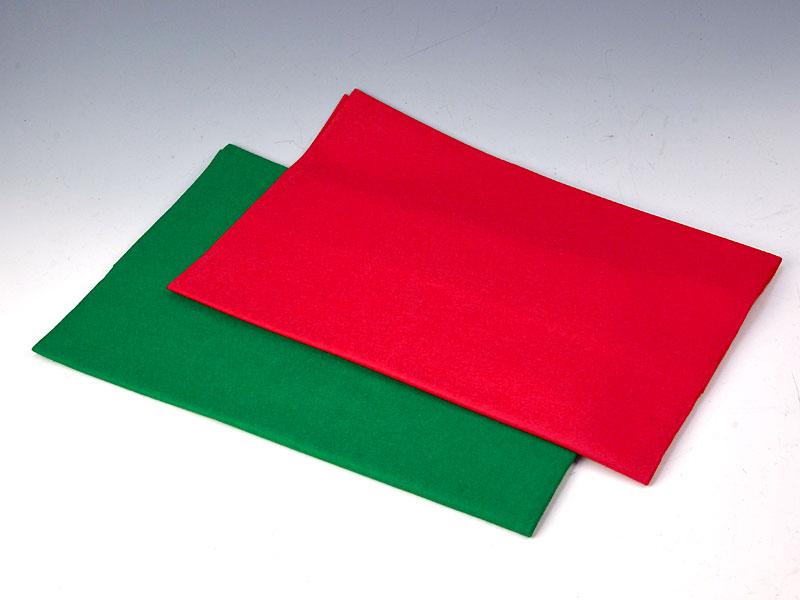 毛せん 赤・緑(2枚セット) 130×90 cm【ウール】毛氈