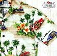 アロハシャツ メンズALOHA REPUBLICクリーム/オールドハワイアン柄メイドインハワイ/新品希少激安・格安ハワイ仕入/お買い得Hawaii製/大きいサイズ有/ベージュ【クールビズ】【父の日】