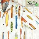 アロハシャツ メンズ ハワイ製【KY'S】ビンテージサーフボード柄/ホワイトコットン100%/希少ブランド白/ベージュリーフ柄・サーファー【メール便送料無料】(代引送料別途)