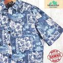 アロハシャツ メンズ パラダイスベイ Paradise Bayレイニーブルー/リーフ・フラワー葉柄・裏生地ハワイ製/新品希少ブランドコットン・立ち襟大きいサイズ有/青・紺色プレゼント/ギフト/クールビズ