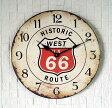 ヒストリックルート66アンティーク調時計・オフホワイトガレージにも最適!レトロ調クロックアメリカン雑貨新品・未使用品お買い得です!格安・激安・カフェクロック掛け時計