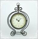 ノーブルアイアンクロック・Lサイズ・ブラウン両面時計置き時計...
