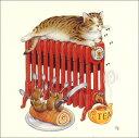グリーティングカード【多目的】ピーター・クロスシリーズ「猫とねずみのティータイム」(PCII0012)[FSC認証]【キャット/マウス/お茶/..