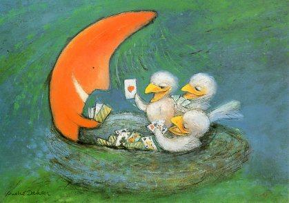 ポストカード 【イラスト】 絵本/アンドレ・ダーハン「月のベビーシッター」