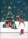 グリーティングカード 【クリスマス】 トナカイと小鳥【封筒付き/白】【封筒サイズ132×182mm】【中面/「Merry Christmas!」の文字あり・イラストあり】【キラキラのフリッター加工あり】