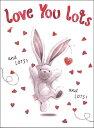 グリーティングカード 【バレンタイン】「ハートとうさぎ」【封筒サイズ/135×185mm】【封筒の色/赤】【中面/文字あり「It's Valentine's Day! Have the best day ever!」】【箔押し加工あり】【キラキラのフリッター加工あり】(VDHI0006)