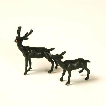 添景:銅製漆塗り 鹿一対