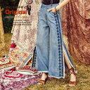 オリジナルデザイン 春新作 大人可愛い 民族風 ボヘミアン 刺繍 ウォッシュ加工 コットン100% 体型カバー 着やせ スリット フリンジ デニム バギーパンツ フレアジーンズ ベルボトム