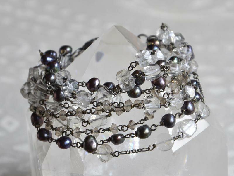 水晶・スモーキークォーツ・淡水パール多連ブレスレット ボリュームブレスレット 水晶をふんだんに使用d6【送料無料】いたい