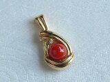 K18ダイヤ入り血赤珊瑚7mm珠ペンダントトップ