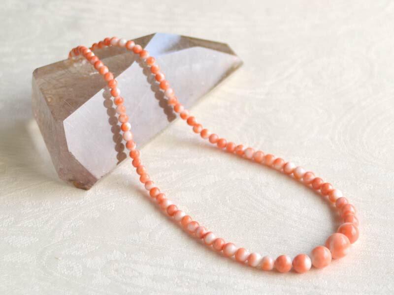 珊瑚丸珠ネックレス モモイロ珊瑚ネックレス【送料無料】