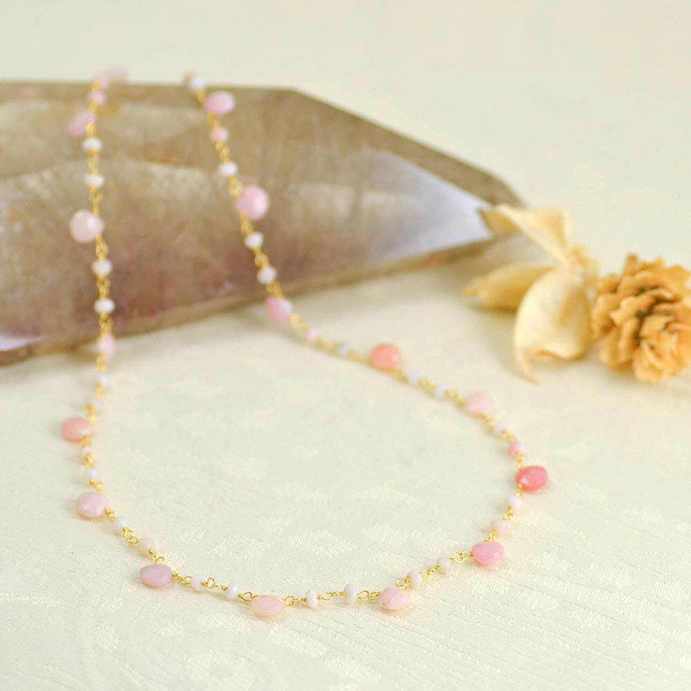 SV ピンクオパールショートネックレス 優しいピンクの天然石チェーンネックレス6l【送料無料】【暑い】